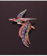 Rare Vintage Crown Trifari Red Blue Green Enamel Kingfisher Bird Brooch - $175.00