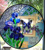"Joan Baker Blue Butterflies & Irises Art Panel Round  21.5"" Diameter Suncatcher"