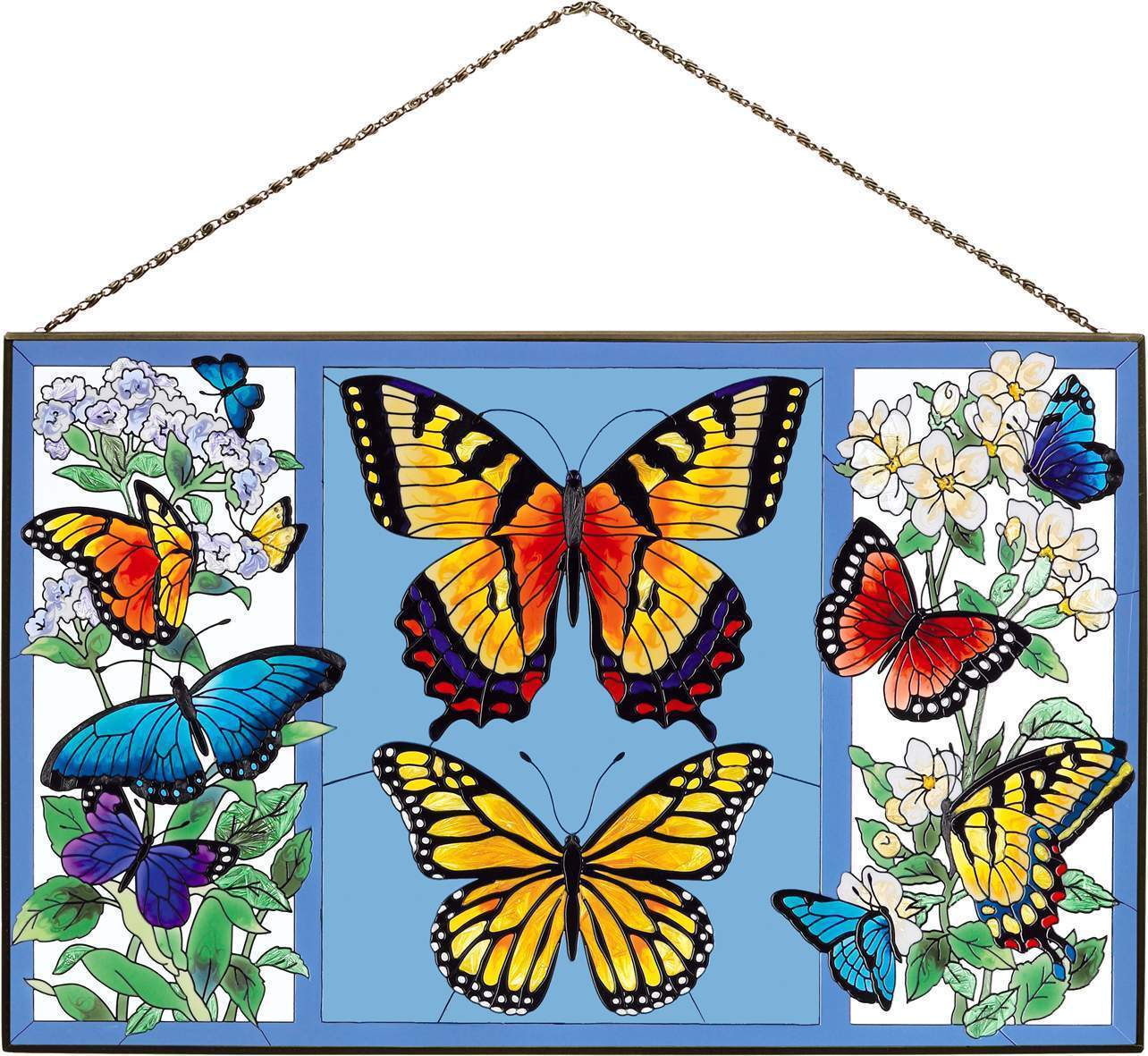 "Joan Baker Butterfly Menagerie Art Panel Suncatcher 16"" x 10"""