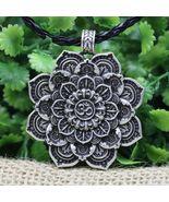 Antique Silver Om Lotus Mandala Necklace - $18.00