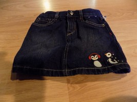 Girl's Size 5 Gymboree Winter Penguin Denim Blue Jean Mini Skirt EUC - $14.00