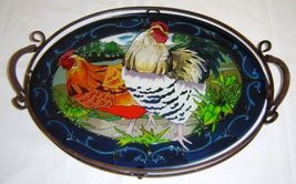 Joan Baker Metal & Beveled Glass Serving Tray Hand Painted Country French Hens