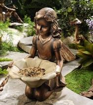 """Kneeling Garden Fairy Holding Flower Birdfeeder - Polystone 12"""" x 12"""" x 7"""" NEW"""