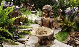 """Kneeling Garden Fairy Holding Flower Birdfeeder - Polystone 12"""" x 12"""" x 7""""  image 2"""