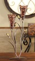 Leopard Design Metal & Glass Candle Tealight Holder with 2 Glass Cup Holders New