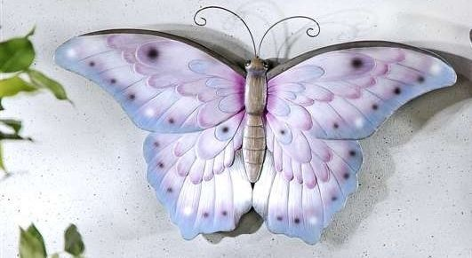 Lilac Butterfly Polystone Wall Plaque NEW