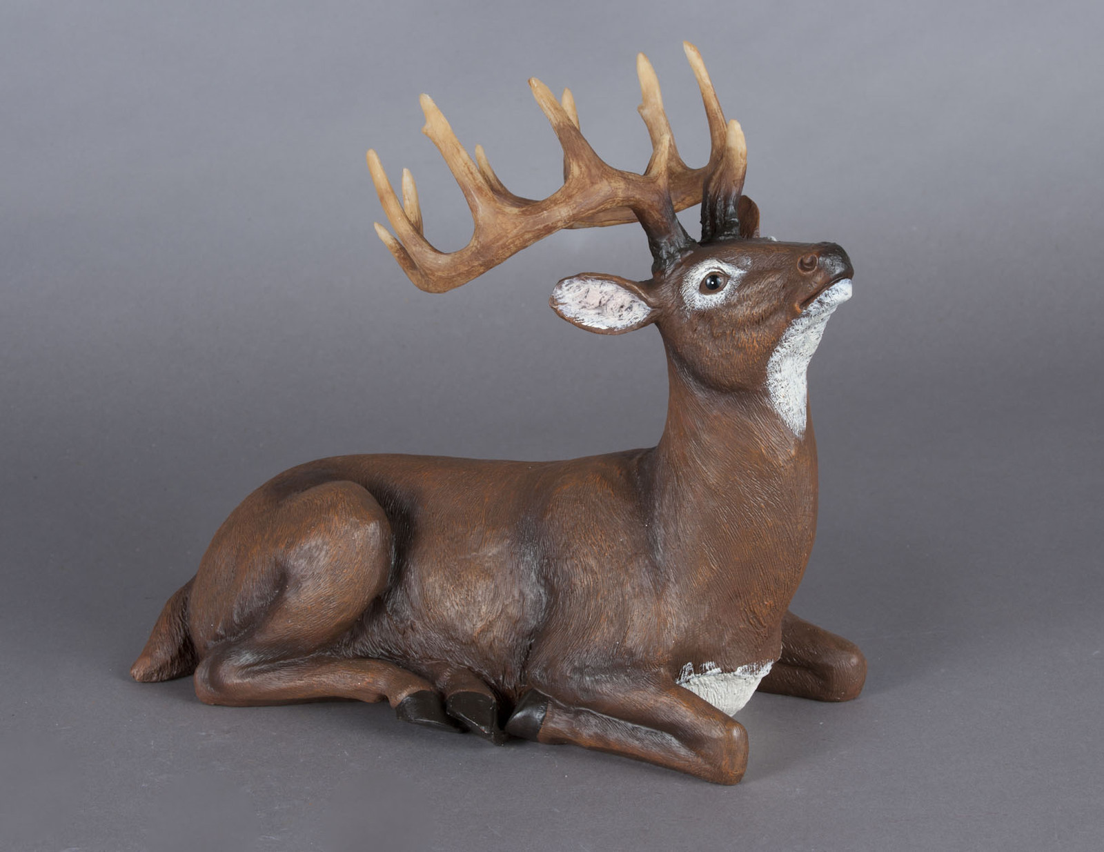 "Majestic Looking 12"" Laying Brown Deer with Antlers Figurine NEW"