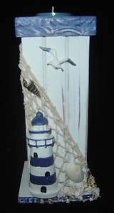 Nautical Lighthouse Votive or Tealight Holder- Wood New