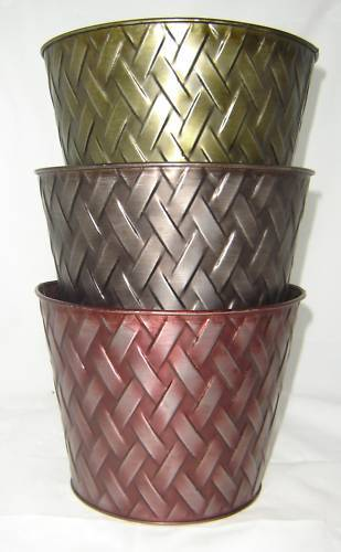 "One Herringbone Metal Planter 9"" Pot - with liner  NEW"