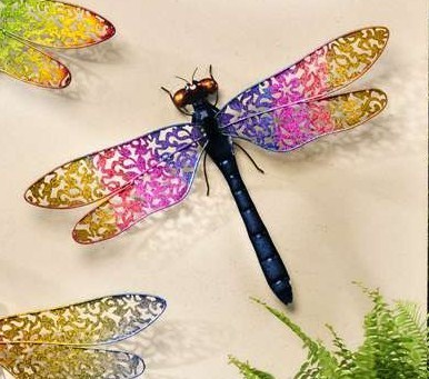 PINK & YELLOW METAL DRAGONFLY WALL DECOR