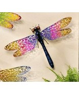 Pink and Yellow Dragonfly Metal Wall Decor with Expansive Wings - 16 x 2... - $38.99