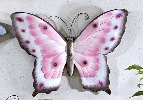 Pink Butterfly Polystone Wall Plaque NEW