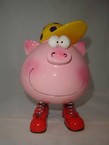 Pink Girl Animated Character Piggy Money Bank NEW