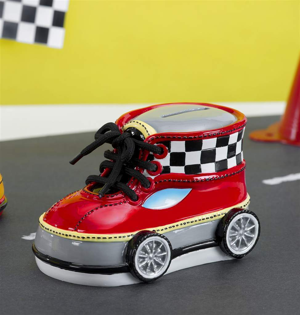 "Racing Car Running Shoe Design Money Bank Polyresin 5"" x 3"""