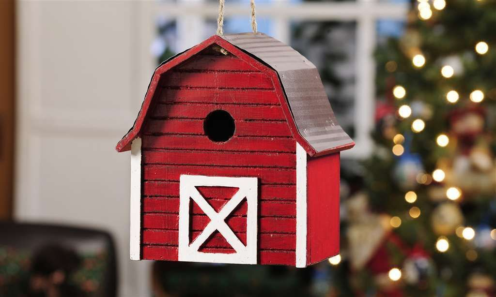 "Red Barn Birdhouse with Metal Roof Painted Wood 9"" x 9"" NEW"