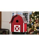 "Red Barn Birdhouse with Metal Roof Painted Wood 9"" x 9"" NEW - $34.23"