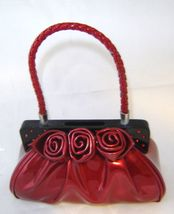 Red Faux Leather Purse Handbag Money Bank Polyresin