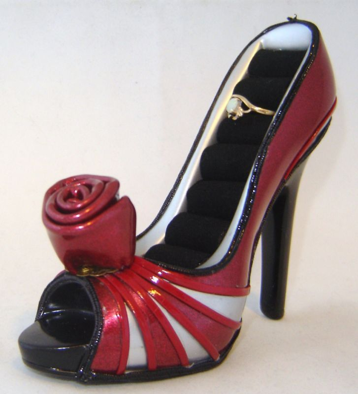 Red Faux Leather Replica Stiletto Shoe Ring Holder NEW