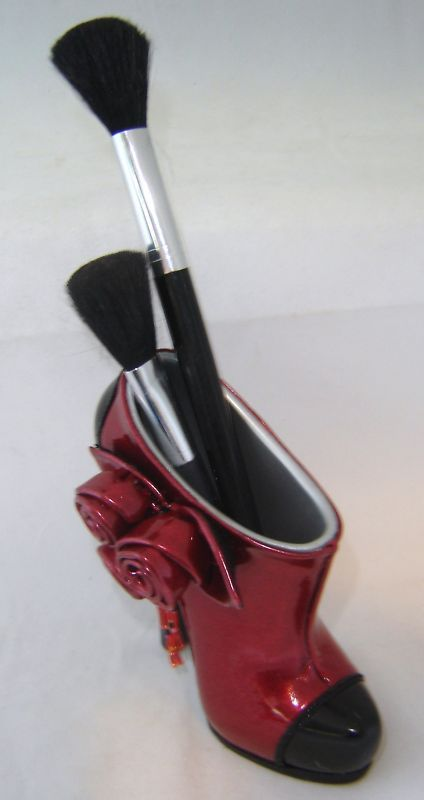 Red Stiletto Shoe Cosmetic Brush or Pen Holder NEW