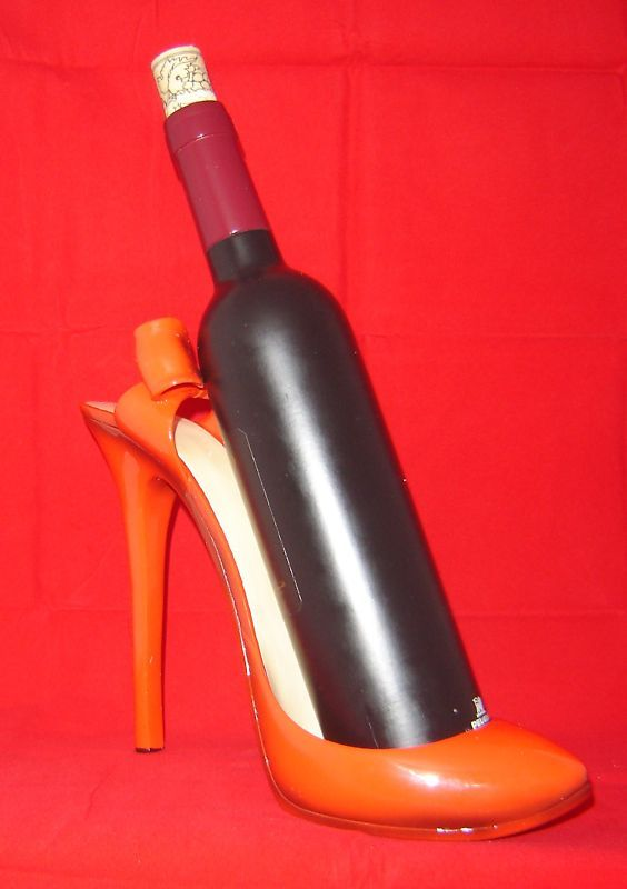 Red Stilleto Shoe Wine Bottle Holder Polyresin NEW