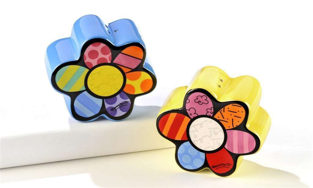 Romero Britto 2 Flowers Salt & Pepper Shakers Ceramic NEW