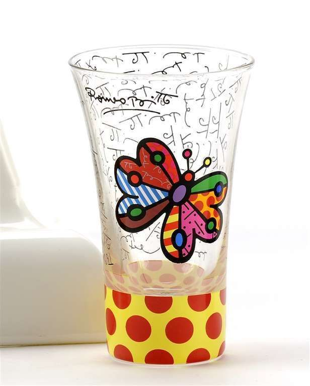 Britto 3.4 oz - Shot Glass - Butterfly Design Rare Retired Collectible