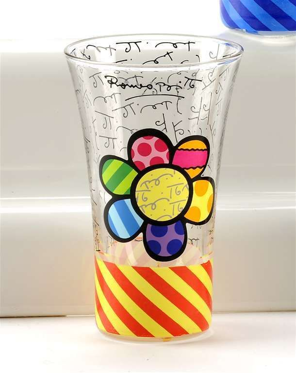 Romero Britto 3.4oz- Shot Glass - Flower Design Gift Boxed NEW w Authentic Tags