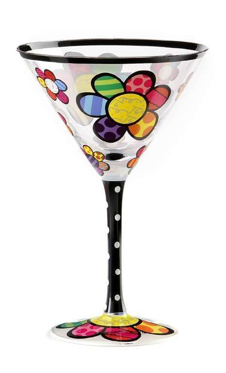 Romero Britto 8oz Martini Glass - Flower Design Gift Boxed NEW w Authentic Tags