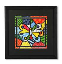 Romero Britto Black Framed Poster Butterfly NEW