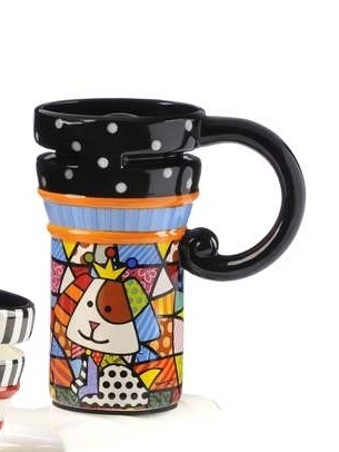 Romero Britto Collectible Travel Mug Royal Dog 14 oz Dolomite in Giftbox