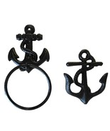 Black Small Anchor Cast Iron Towel Ring & Double Wall Hook Set Rustic Fi... - $26.24