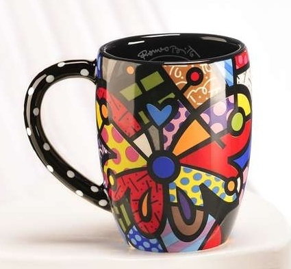 Romero Britto Dolomite Round Butterfly Mug 12 oz Gift Box Giftcraft #3309047 NEW