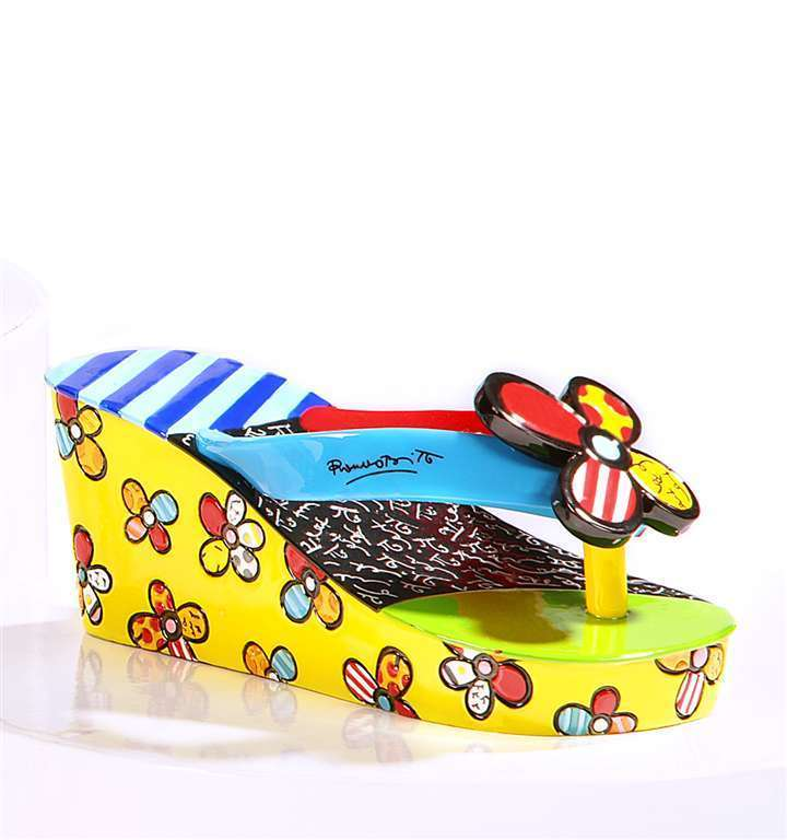 Romero Britto Flipflop Mini Shoe Figurine Mini Shoe Collection with Shoe Box NEW