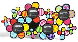 Romero Britto Flower Bunch Design Photo Frame Holds 4-3 x 3 round Photos #331707