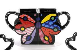 Romero Britto Nestled Double Butterfly Mug Set of 2 Dolomite # 331636 New