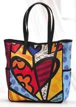 Romero Britto Satin Medium Tote Bag Hearts #339103 NEW