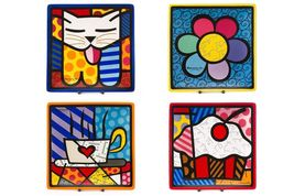 "Romero Britto Set of 4 Decorative Square Side Plates 8"" x 8"" Ceramic Giftboxed"