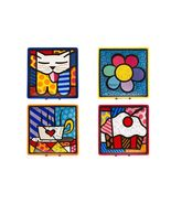 "Romero Britto Set of 4 Decorative Square Side Plates 8"" x 8"" Ceramic Gif... - $74.44"