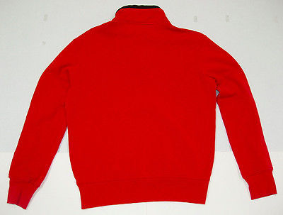 Polo Ralph Lauren Sweater Pullover L Red Mock Neck Solid Cotton 1/2 Zip NWT