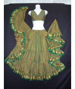 OLIVE GREEN~PADMA  ATS®~NEW!!~TRIBAL BELLYDANCE FULL&FLUFFY GYPSY~ATS® SKIRT!! - £73.23 GBP