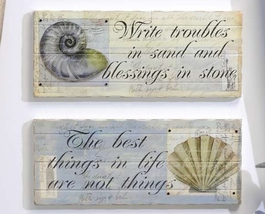 SET of 2 Nautical Beach Cottage Inspirational Wall Plaques w Shells Wood  NEW