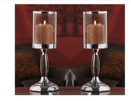 "Set of 2 - 14.2"" Metal Candle Holders w Glass Candle Cup 4"" high"