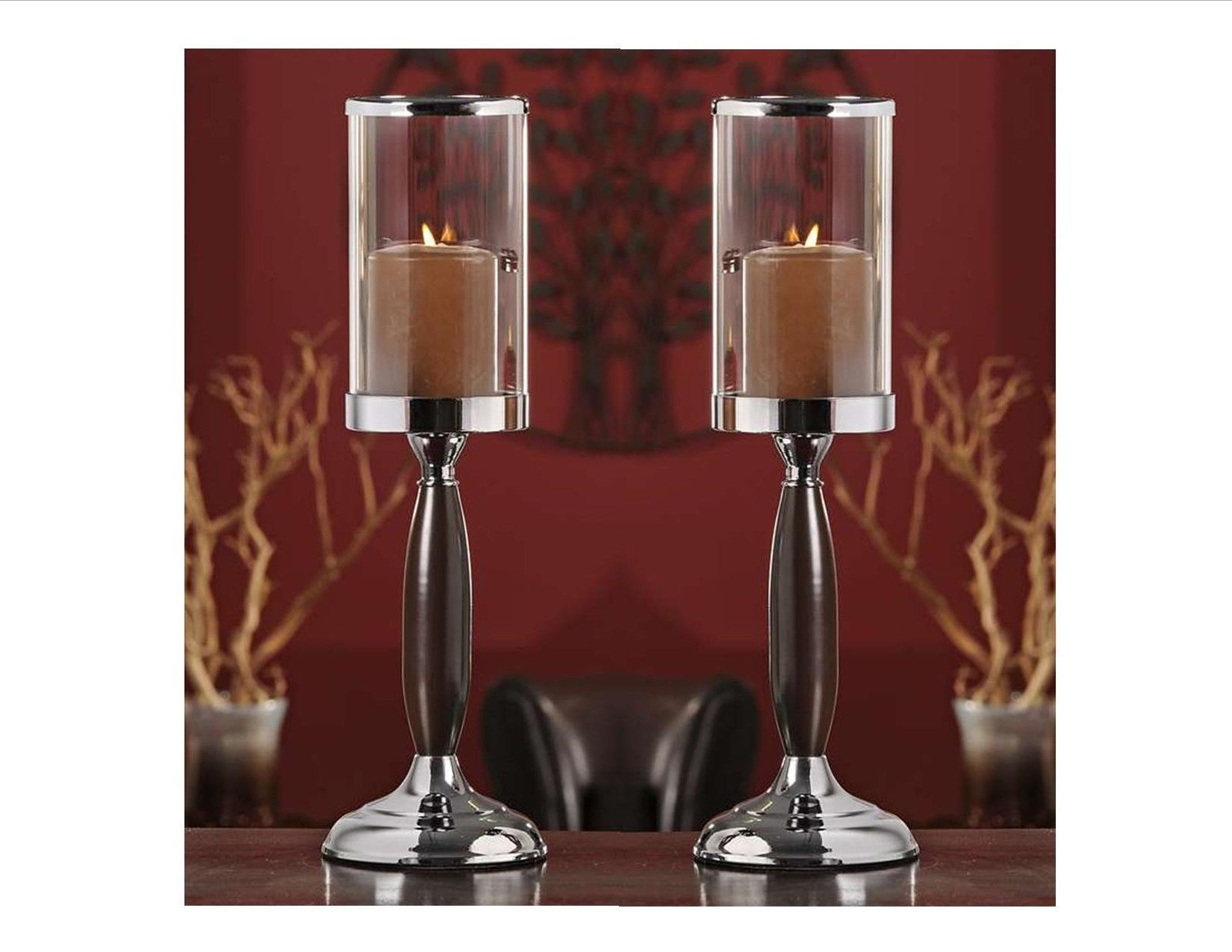 "Set of 2 - 17"" Metal Candle Holders w Glass Candle Cup 4.7"" high NEW"
