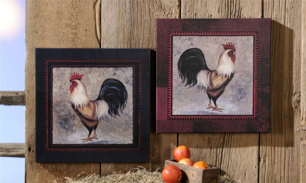 "Set of 2 - 18""x 18""  Rooster Stretched Canvas Prints"