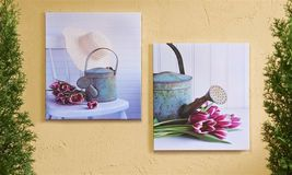"Set of 2 - 18""x 20"" Garden Watering Can Stretched Canvas Prints- Indoor/Outdoor"