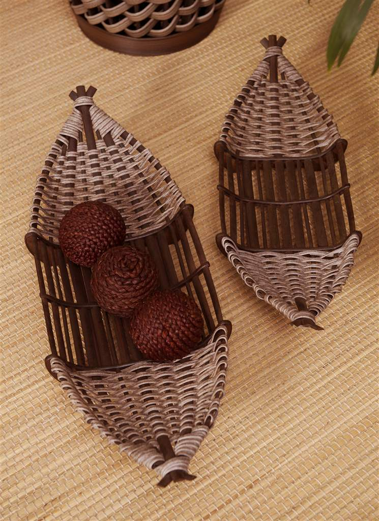 "Set of 2 Bamboo Baskets Large 28"" & 24"" Long, Rattan & Plywood Decor"
