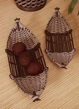 "Set of 2 Bamboo Baskets Large 28"" & 24"" Long, Rattan & Plywood Decor - $44.54"
