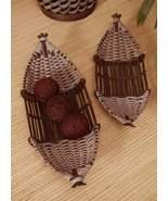 "Set of 2 Bamboo Baskets Large 28"" & 24"" Long, Rattan & Plywood Decor - $44.54"