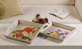 "Set of 2 Floral Painted Wooden Serving Trays 14"" x 14"" x 2.8"" high NEW"