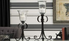 """Large Pedestal Candle Holders Set of 2 Black Iron w Glass Holders 19.9""""  & 25"""" - $98.99"""